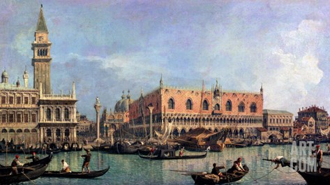 The Molo and the Piazzetta San Marco, Venice Stretched Canvas Print