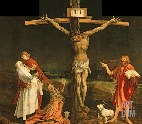 The Crucifixion, from the Isenheim Altarpiece, circa 1512-15 Stretched Canvas Print