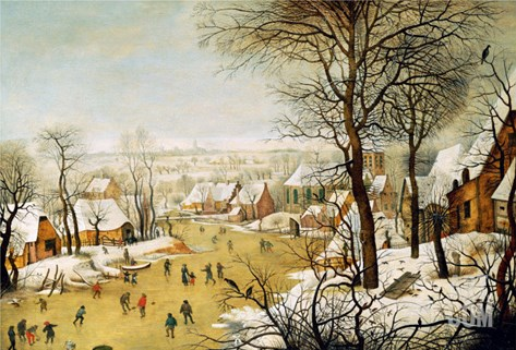 A Winter Landscape with Skaters and a Bird Trap Stretched Canvas Print