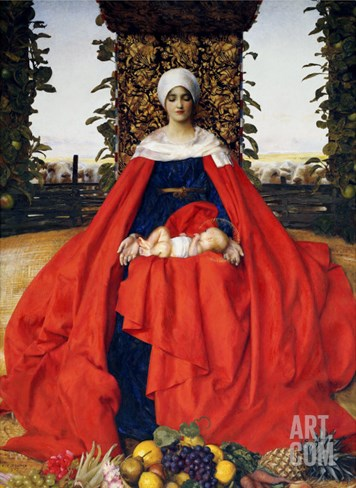 Our Lady of the Fruits of the Earth Stretched Canvas Print
