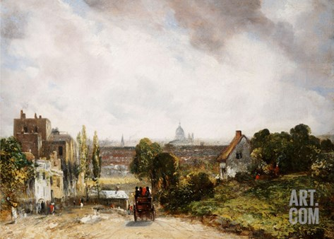 View of the City of London from Sir Richard Steele's Cottage, Hampstead Stretched Canvas Print