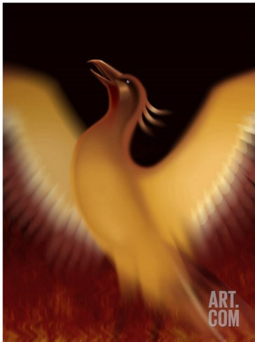 The Mythical Phoenix Rising from Ashes Stretched Canvas Print