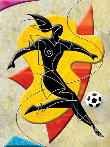 Soccer Player Kicking Ball Stretched Canvas Print
