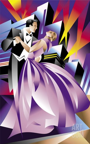 Elegant Couple Dancing Stretched Canvas Print