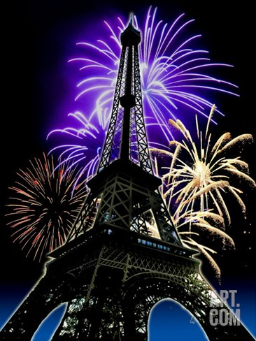 Fireworks Behind Eiffel Tower, Bastille Day Stretched Canvas Print