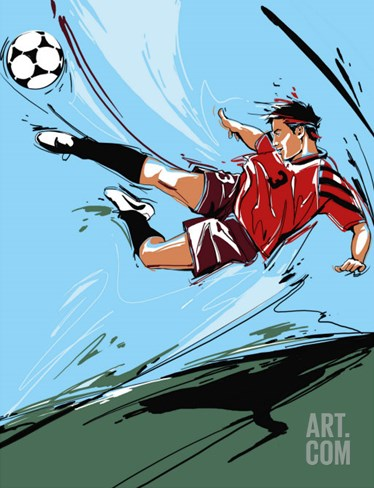 Man Kicking a Soccer Ball Stretched Canvas Print