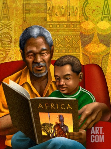 Man and Boy Reading Book About Africa Stretched Canvas Print