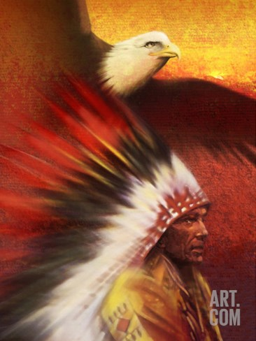 A Middle-Aged Adult Native American Male Wearing a Headdress with a Bald Eagle Flying Overhead Stretched Canvas Print