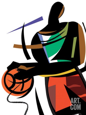 Basketball Player Stretched Canvas Print