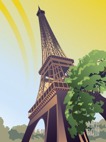A View of the Eiffel Tower Stretched Canvas Print