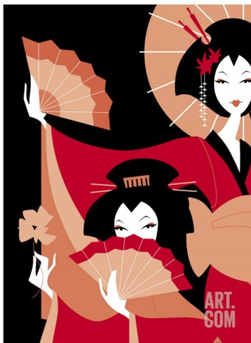 Two Japanese Geisha Stretched Canvas Print
