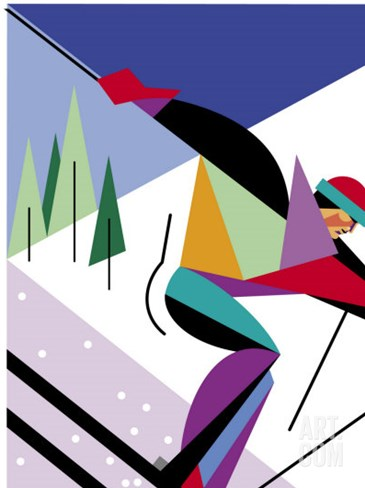 A Downhill Skier Stretched Canvas Print