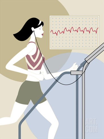 Woman Walking on a Treadmill Stretched Canvas Print