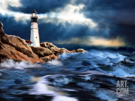 Lighthouse and Stormy Seas Stretched Canvas Print