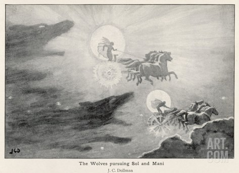 The Wolves Skoll (Repulsion) and Hati (Hate) Pursue Sol (Sun) and Mani (Moon) Across the Skies Stretched Canvas Print