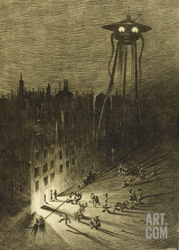 The War of the Worlds, a Martian Machine Contemplates the Drunken Crowd Stretched Canvas Print