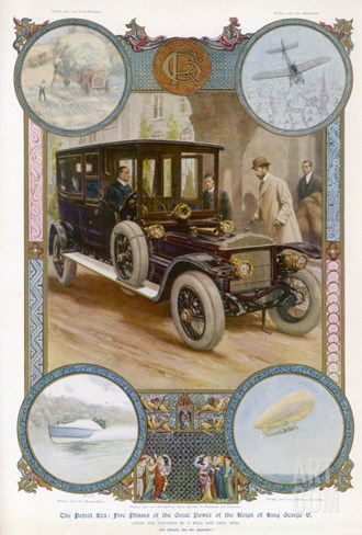 George V Enters the Royal Daimler Stretched Canvas Print