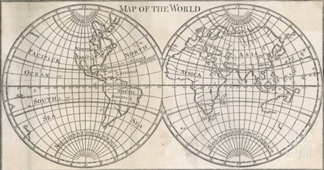 Earth's Globe Still Far from Completely Mapped, Note How North America and Australia Fade Away Stretched Canvas Print