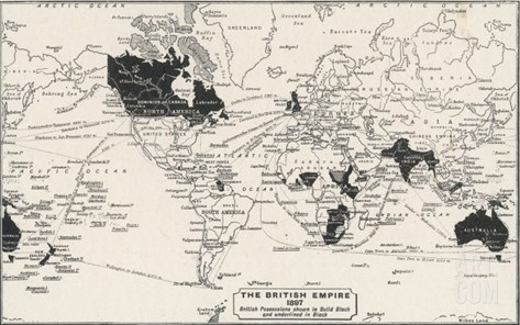 Map of the World Showing British Empire Possessions Stretched Canvas Print