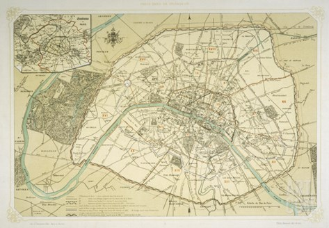 Map Showing the Growth of Paris from Its Earliest Origins to the Latest Projects Under Napoleon III Stretched Canvas Print