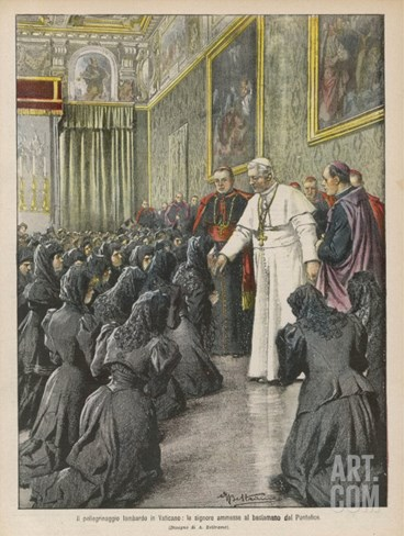 Pope Pius X (Giuseppe Sarto) Pope and Saint Receiving Pilgrims from Lombardy at the Vatican Stretched Canvas Print