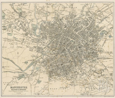 Map of Manchester and Its Environs Stretched Canvas Print