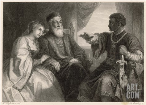 Othello Impresses Desdemona and Her Father with His Eventful Life-Story Stretched Canvas Print