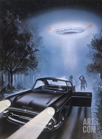 New Hampshire, Betty and Barney Hill Driving at Night See a UFO Stretched Canvas Print