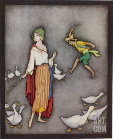 The Goose Girl Brings Her Geese into Line Stretched Canvas Print