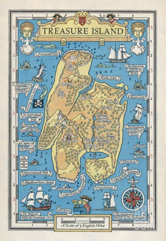 Map of Treasure Island Stretched Canvas Print