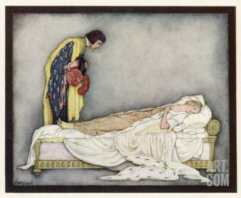 The Prince Looks Down on Sleeping Beauty Wondering How to Wake Her Stretched Canvas Print