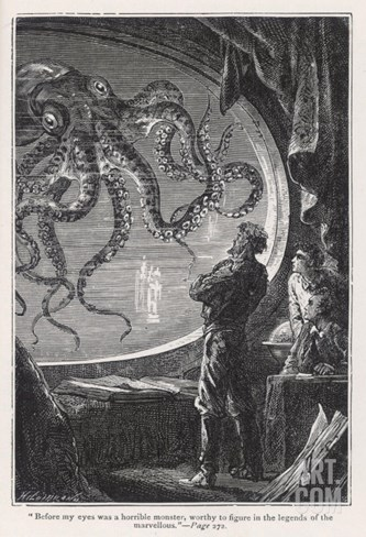 20,000 Leagues Under the Sea: Giant Squid Seen from the Safety of the Nautilus Stretched Canvas Print