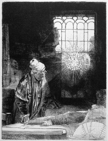 Magician at Work, Doctor Faustus Stretched Canvas Print