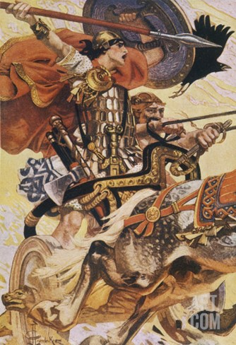 Cuchulain (Cu Chulainn) Rides His Chariot into Battle Stretched Canvas Print