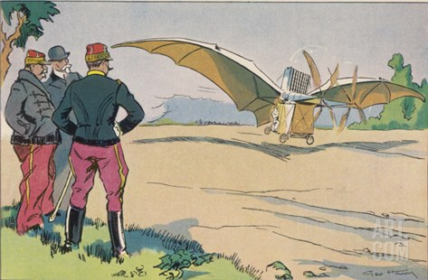 "Ader Demonstrates His Steam- Powered ""Avion III"" (Or Eole III) at Sathory France Stretched Canvas Print"