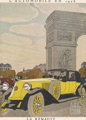 Renault at Arc Triomphe Stretched Canvas Print