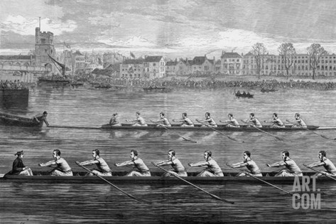 The Boat Race, Ready to Start Stretched Canvas Print