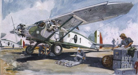 Italian Bomber Loading up Missiles in the Offensive Against the Ethiopian Army Stretched Canvas Print