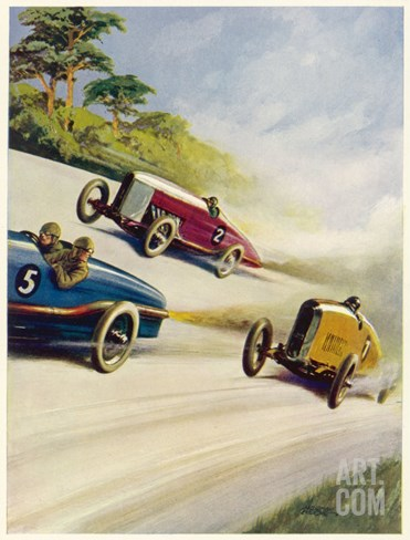 Racing Cars of 1926: Oddly One Car is Carrying Two People the Others Only One Stretched Canvas Print