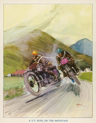 Two Competitors in the Tourist Trophy Race Fight It out Amid the Hills of the Isle of Man Stretched Canvas Print
