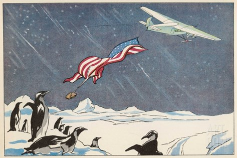 "Admiral Byrd in the Ford Trimotor ""Floyd Bennett"" Drops the American Flag at the South Pole Stretched Canvas Print"