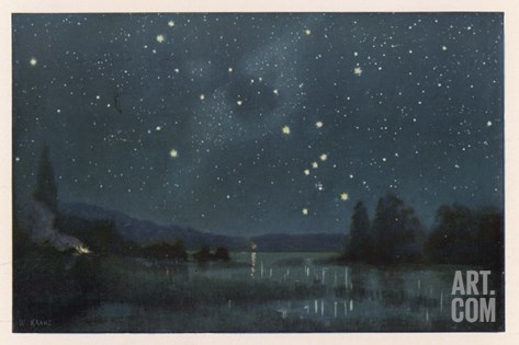Star-Filled Sky Featuring the Constellation of Orion Stretched Canvas Print