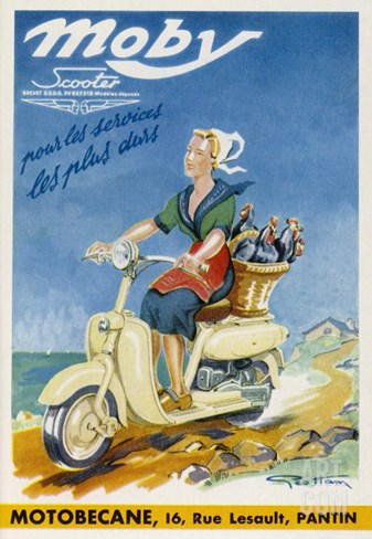 The Moby by Motobecane Takes a French Countrywoman to Market Stretched Canvas Print