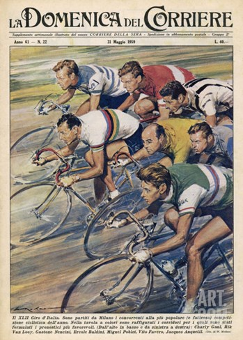 "Riders in the ""Giro d""Italia"" the Most Important Italian Cycle Race Stretched Canvas Print"