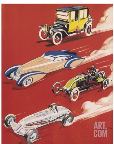 Four Very Different and Unequally Advantaged Cars Racing Stretched Canvas Print