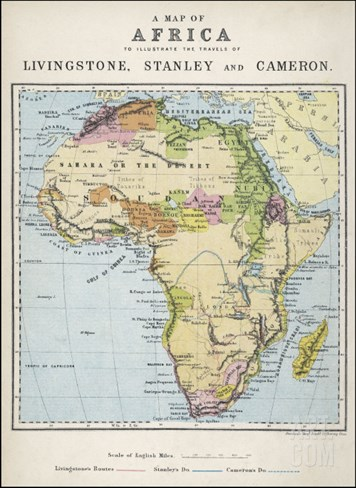 Map of Africa Which Illustrates the Travels of Livingstone Stanley and Cameron Stretched Canvas Print