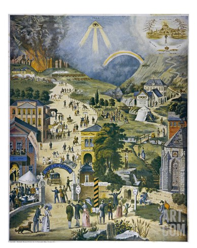 The Broad and Narrow Way, the Narrow Road to Heaven Contrasted with the Broad Way to Hell Stretched Canvas Print