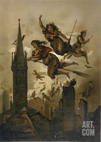 Witches on Their Broomsticks Fly Over the Roofs of Their Town Stretched Canvas Print