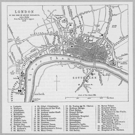Map of London at the Time of Queen Elizabeth I Stretched Canvas Print