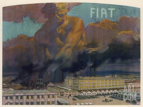 Fiat Factory Stretched Canvas Print